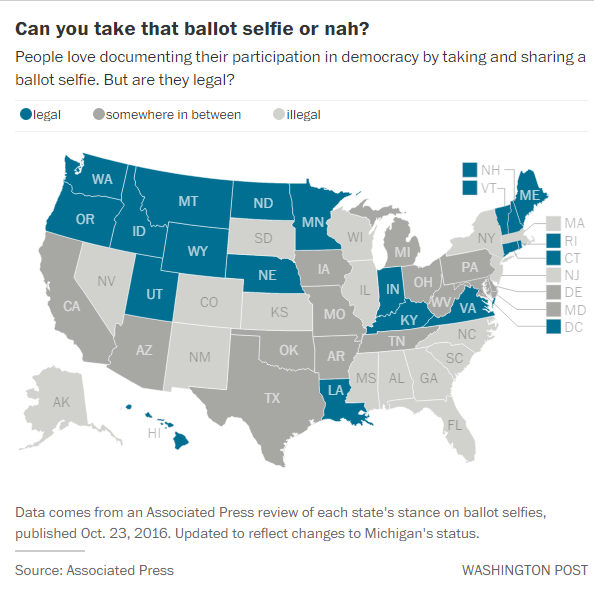 Map - Ballot Selfie Legality by State