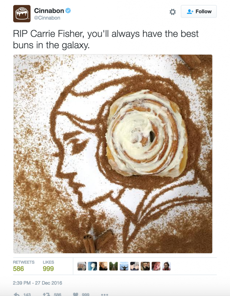 Cinnabon's Carrie Fisher Tweet