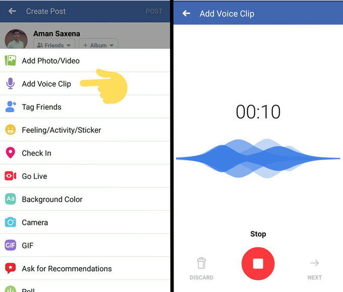 Facebook Voice Post
