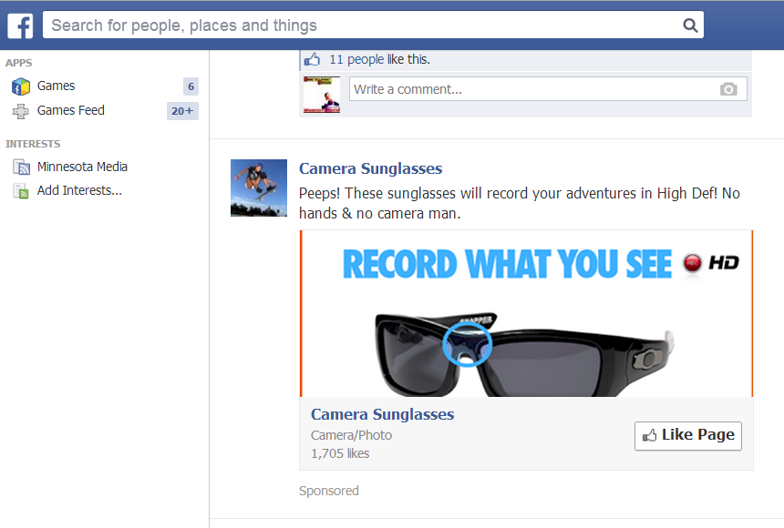 Screenshot of Camera Sunglasses Facebook Ad