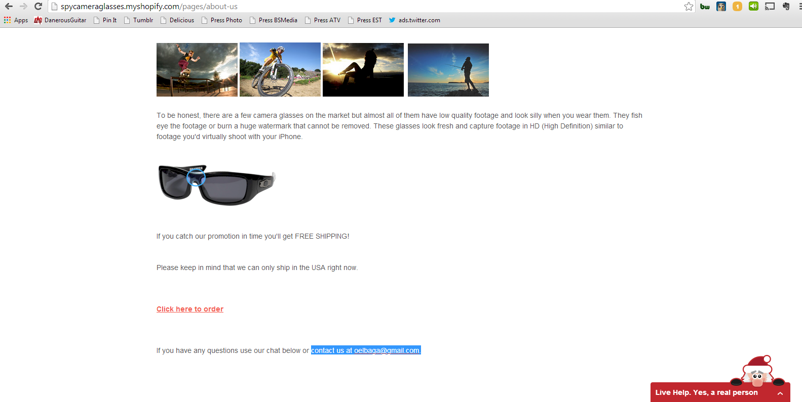 Screenshot of Camera Sunglasses My Shopify About Us Page