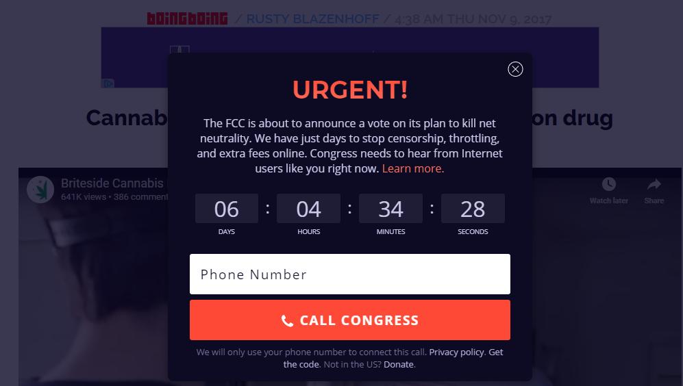 Screenshot: BoingBoing Net Neutrality Congressional Alert