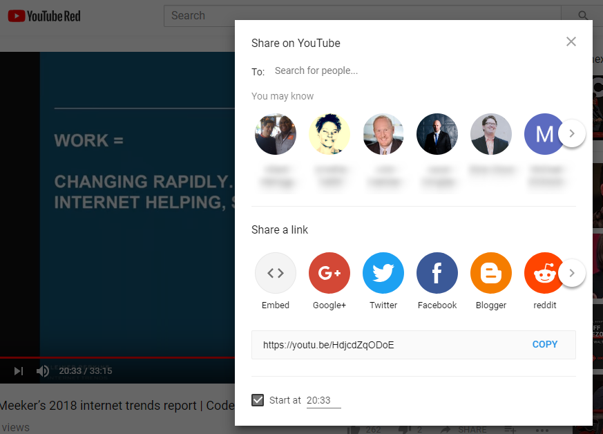 Screenshot: YouTube - Share With Another User Option