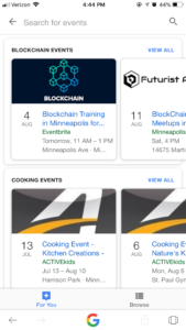 Screenshot: Google Mobile Minneapolis Events Search