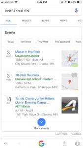 Screenshot: Google Mobile Minneapolis Events Search Details