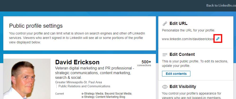 Screenshot - Edit LinkedIn URL