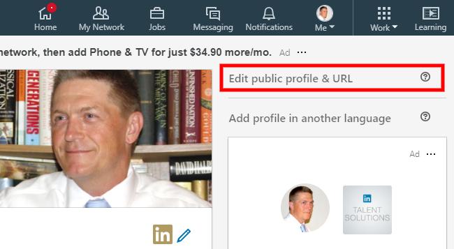 Screenshot - Edit Public Profile URL