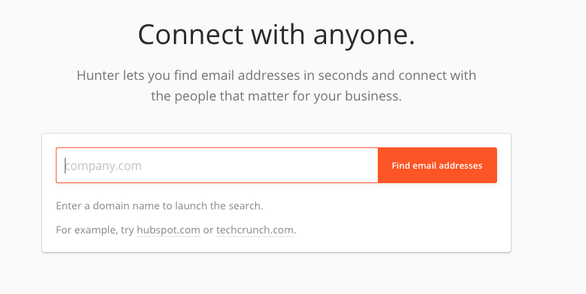Screenshot: Email Hunter