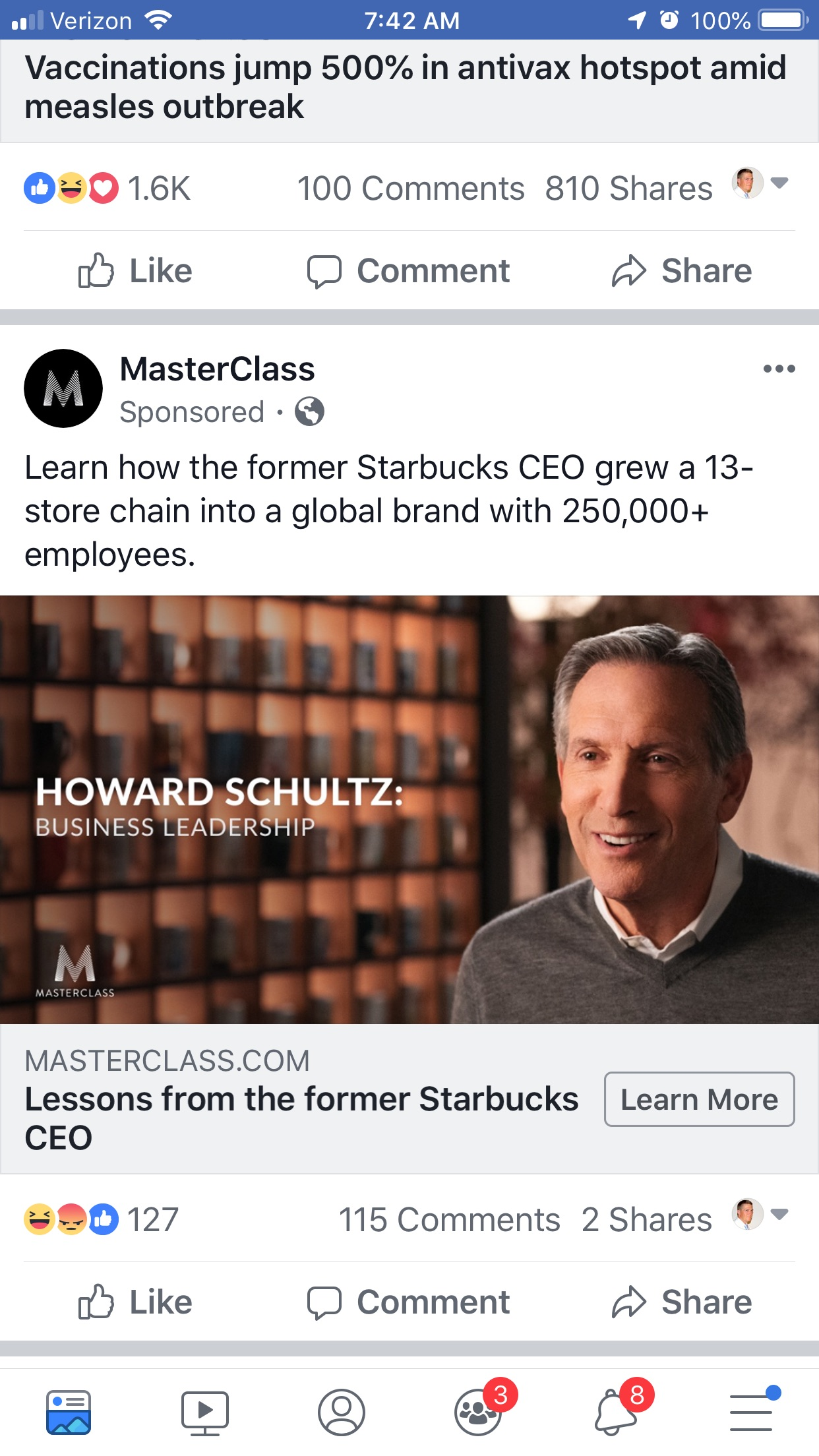 Howard Schultz MasterClass Facebook ad.