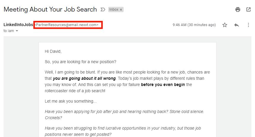 Screenshot: Deceptive Email Address