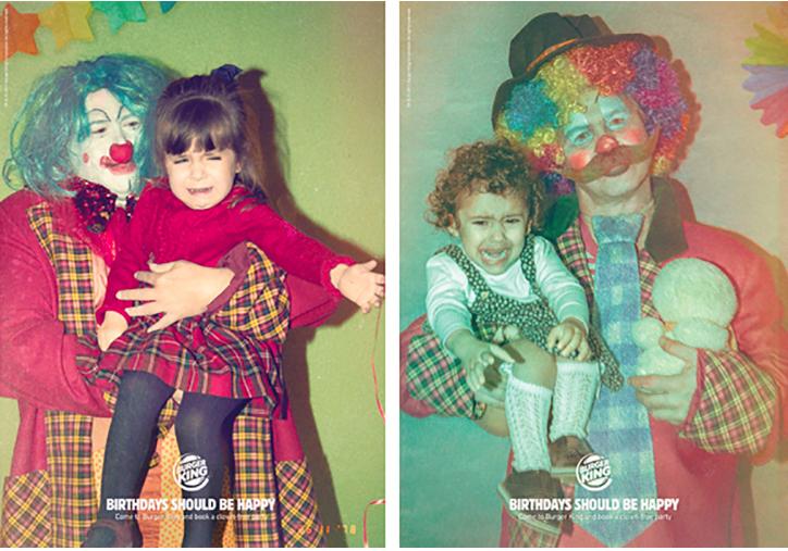 In a swipe at Ronald McDonald, Burger King promises kids clown-free birthdays.