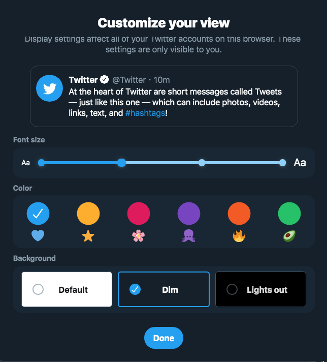 You can now customize colors and more on Twitter's desktop redesign.