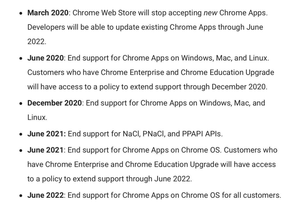 Google will be eliminating Chrome apps.
