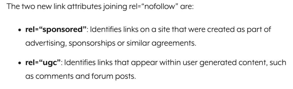 Google has added two new search attributes to nofollow.