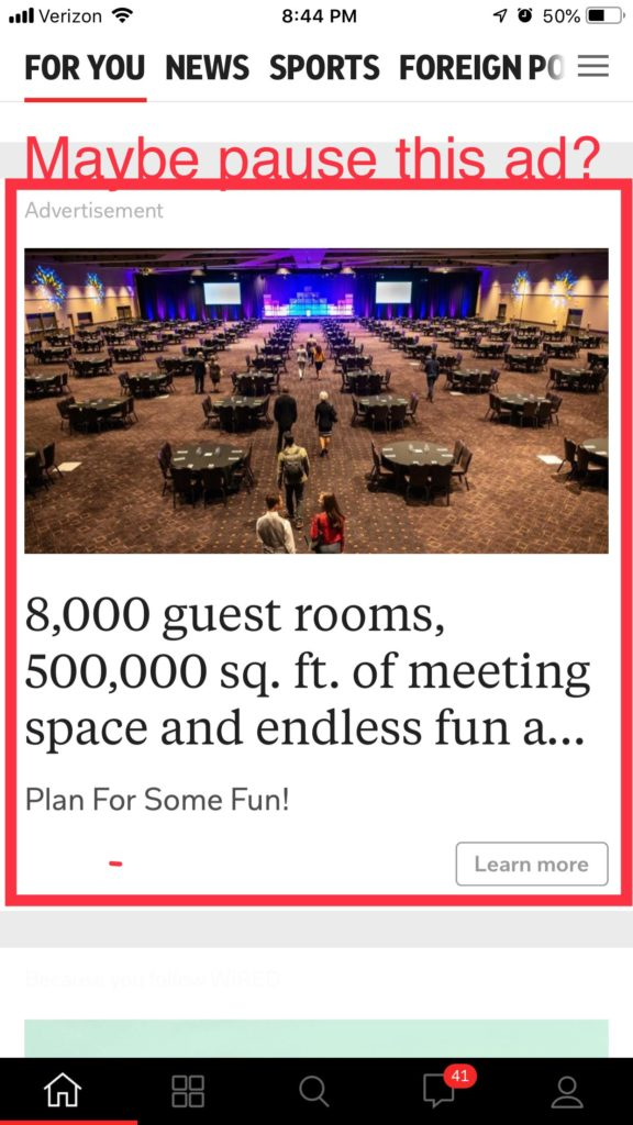 Screenshot: Hotel Meeting Space Ad During Coronavirus Pandemic