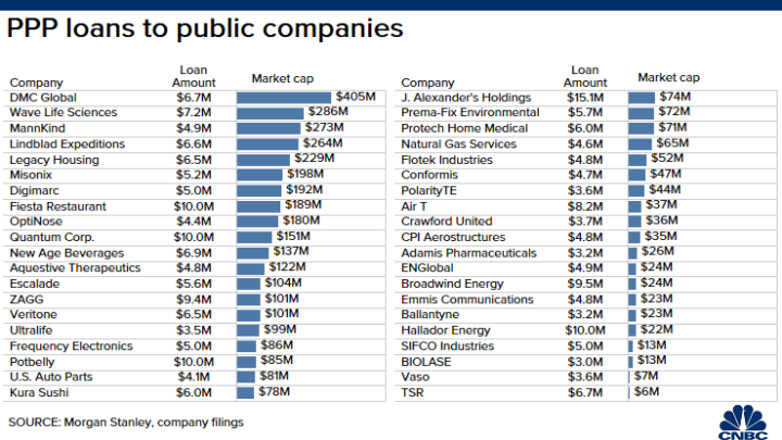 Chart: Public Companies Taking Small Business PPP Loans