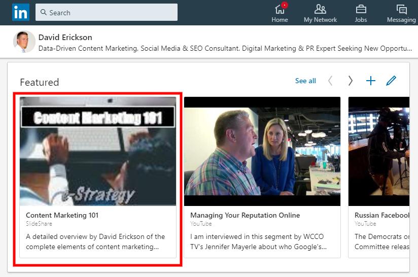 Screenshot: LinkedIn Featured Slideshare Link