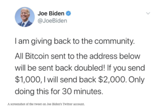 Screenshot: Joe Biden Twitter Hack & Bitcoin Scam