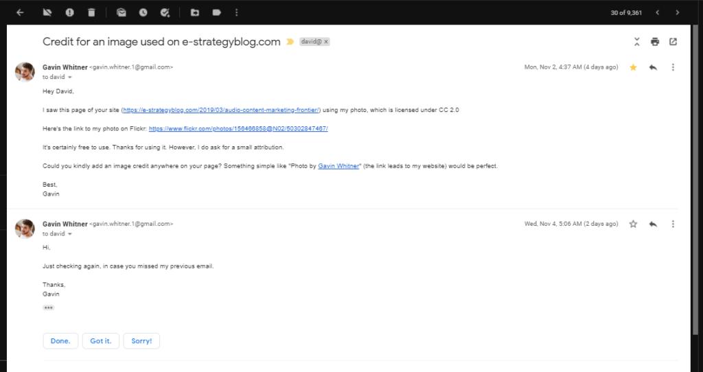 Screenshot: Gavin Whitner's Link Building Scam