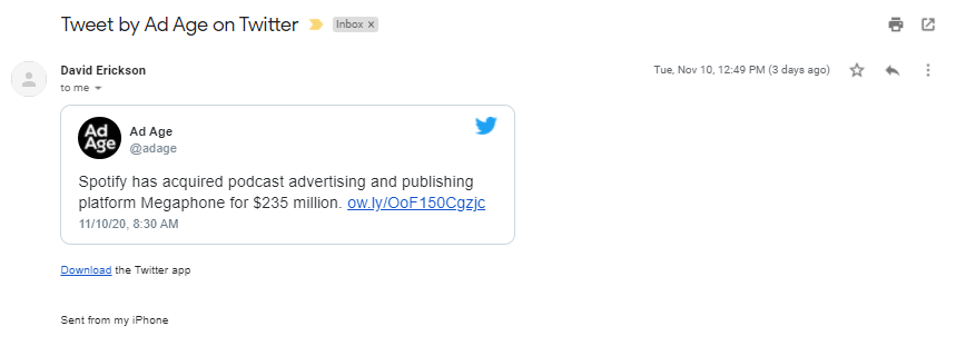 Screenshot: Gmail Embeds Tweets