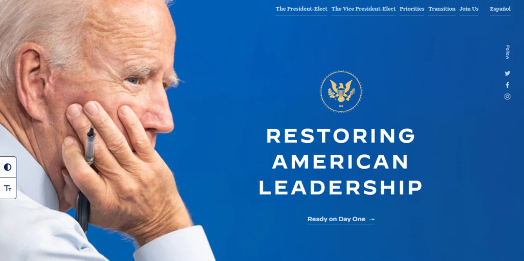 Screenshot: Biden/Harris Transition Website