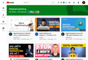 YouTube #digitalmarketing Hashtag Pages