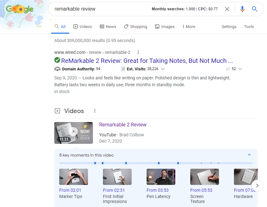 Screenshot: Google SERPs Key Moments Videos
