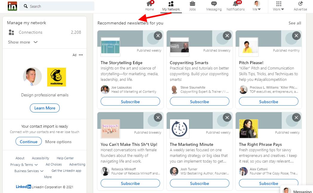 Screenshot: LinkedIn Newsletter Recommendations