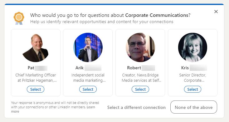 Screenshot: LinkedIn Secret Endorsements