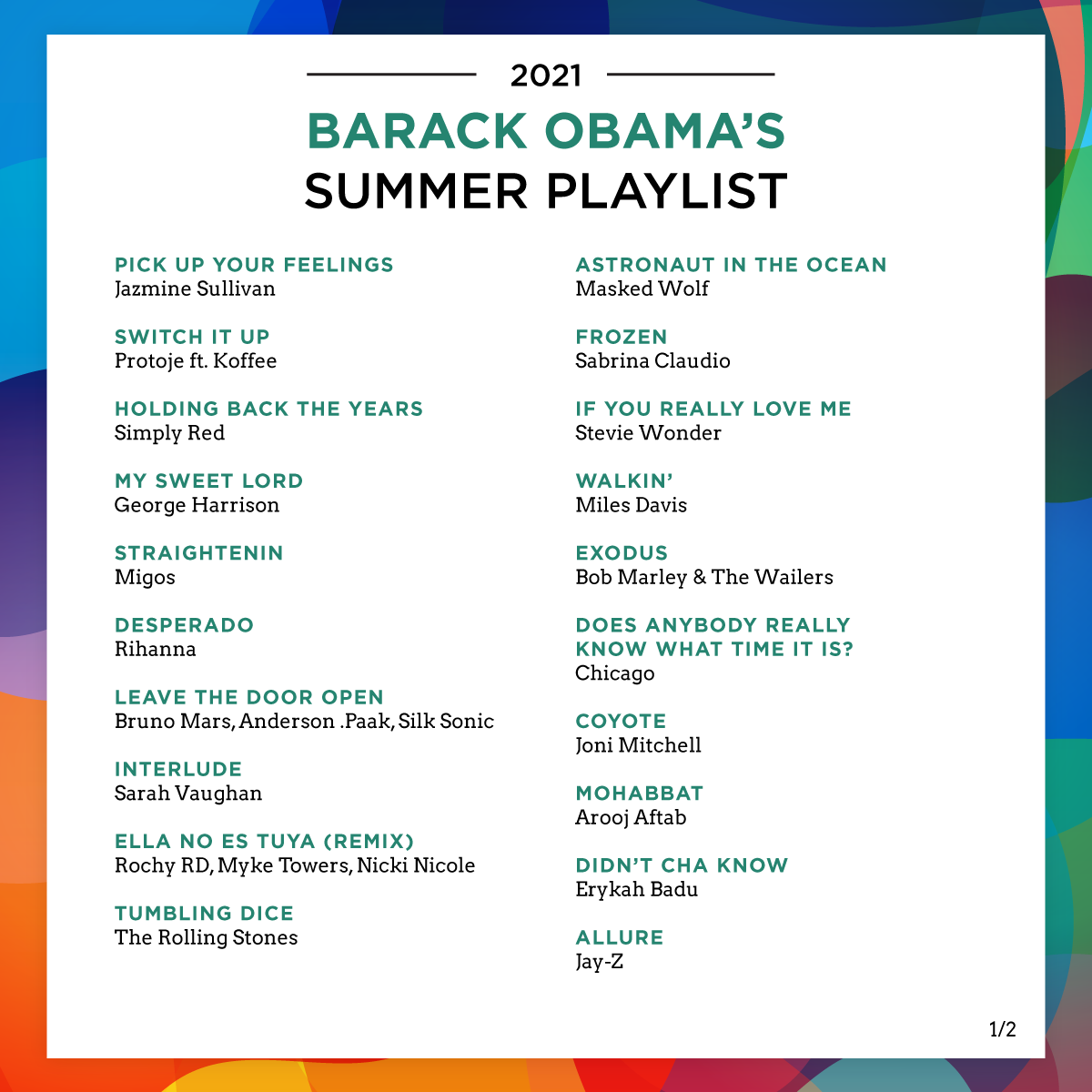 Infographic: Barack Obama's 2021 Summer Playlist