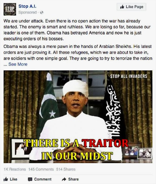Russian Facebook Ad - Anti-Obama Muslim Ad