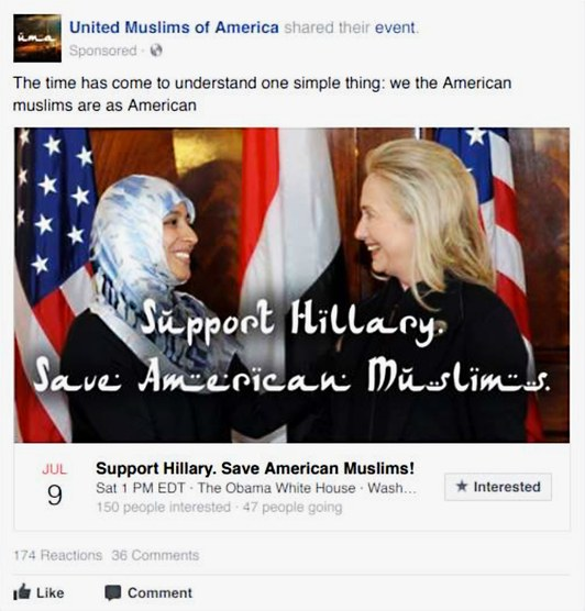 Russian Facebook Ad - Hillary Muslim Support